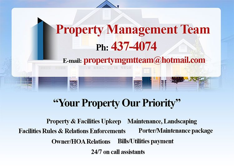"""Property Management Team - """"Your Property Our Priority"""". My Deals Today"""