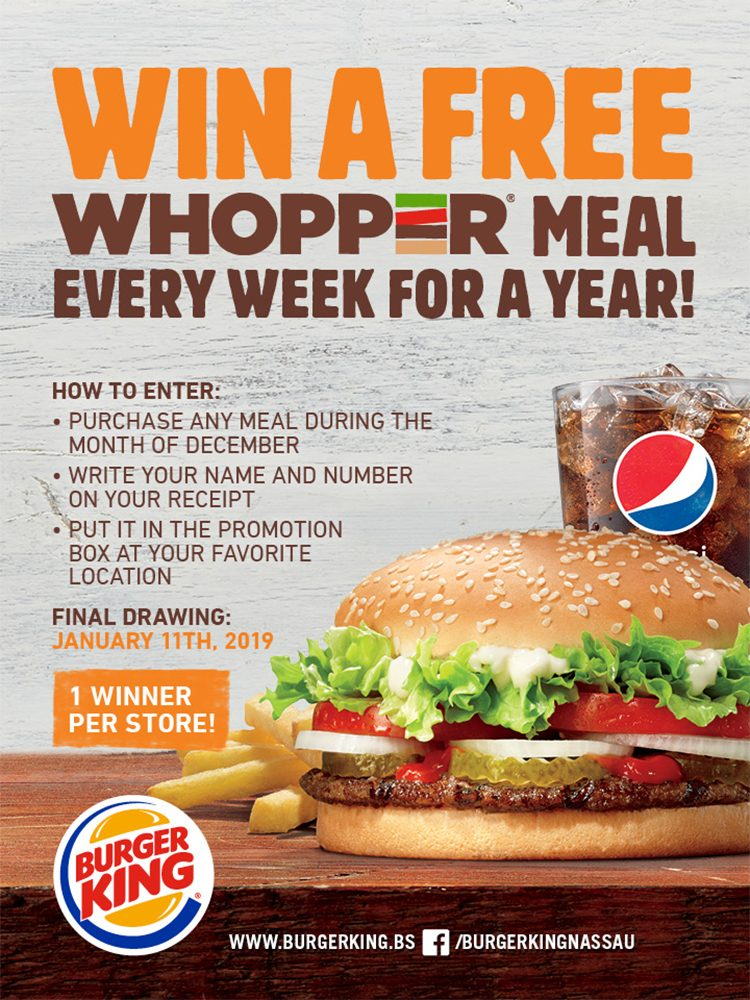 Win a Free Whopper Meal Every Week for a Year at Burger King